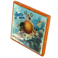 Angels Brand - Vintage Citrus Crate Label - Handmade Recycled Tile Coaster