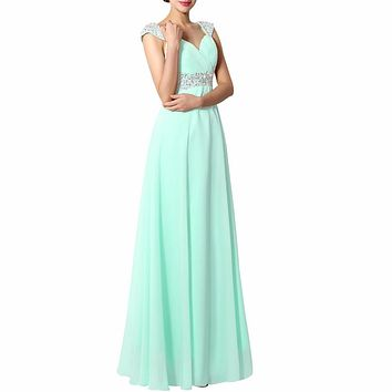 Mint Purple Royal Blue Bridesmaid Dresses Long Chiffon Sweetheart A Line Beaded Sequined Cheap Under 50 Wedding Party Dress 2017