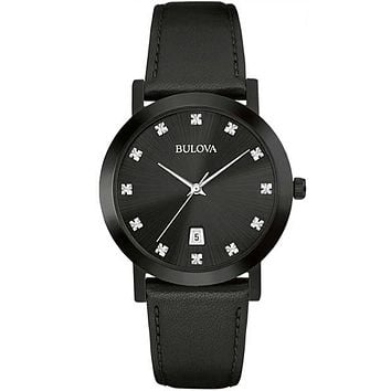 Bulova Men's Diamond Watch - Black Dial - Date - Genuine Black Leather Strap