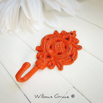 Shabby Chic Cast Iron Wall Hook / Orange Home Decor / Metal Hook / French Country Decor / Ornate / Cottage Chic