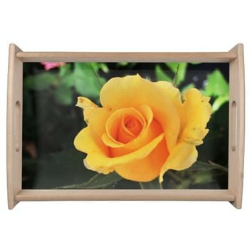 Bright Yellow Rose Serving Tray