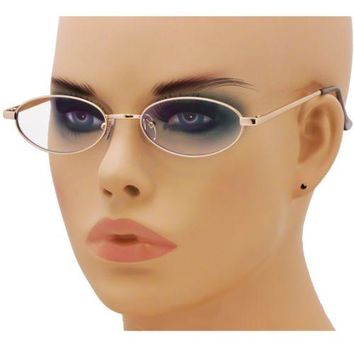 Small Elliptical Sunglasses Classic Metal Retro Vintage Oval Women Fashion Shade