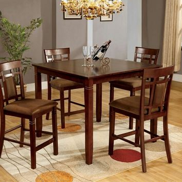 Furniture of america CM3930PT-PK 5 pc. montclair ii transitional style dark cherry wood finish counter height dining table set