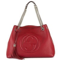 Gucci Womens Soho Leather Chain Straps Shoulder Handbag Red Large