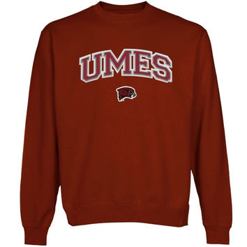 Maryland Eastern Shore Hawks Logo Arch Applique Sweatshirt - Cardinal