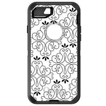 DistinctInk™ OtterBox Defender Series Case for Apple iPhone / Samsung Galaxy / Google Pixel - Black White Floral Pattern