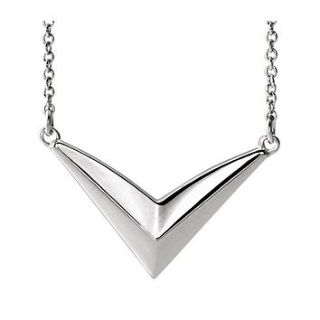 Platinum V Shaped Bar Adjustable Necklace, 16-18 Inch