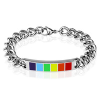 Strength In Pride - Stainless Steel Chain Bracelet With A Rainbow Enamel Plate