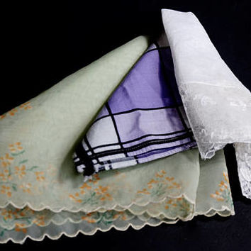 Vintage Hanky Lot,Cutter Hankies,White Lace, Painted Nylon & Plaid Handkerchief,3 Damaged Hankies,Crafting Vintage Linens,Wedding Favors