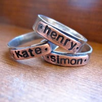 Personalized Ring in sterling silver and copper