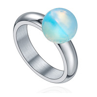 Stainless Steel Ghost White Ball Ring