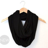 Black Scarf, Black Knitted Scarf, Knitted Infinity Scarf, Lightweight Black Scarf, Circle Scarf, Loop Scarf, Infinity Scarves