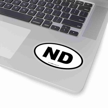 North Dakota NE Euro Oval Sticker BLACK