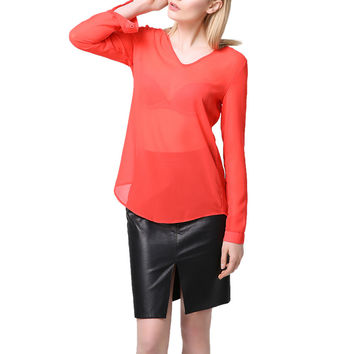 Chiffon T-Shirt Women T-shirt V-Neck Rolled Sleeve Ruched Back Asymmetric Hem Sheer Women Tops Blusas Red SM6