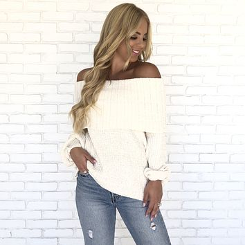 Love Me Tender Soft Off Shoulder Sweater in Ivory