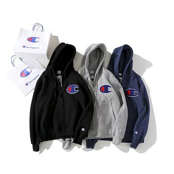 Champion Classic sentiment single men and women lovers' cap and velvet leisure hoodie jacket Navy blue
