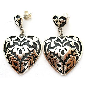 Sterling Silver Heart Dangle Earrings Vintage