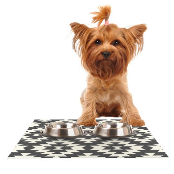 "Amanda Lane ""Southwestern Black Cream"" Tribal Geometric Dog Place Mat"