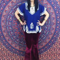 Vintage 70s Indian Royal Blue White Hand Embroidered Cotton Tunic Peasant Blouse M
