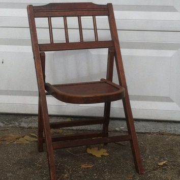 Vintage Child's Wooden Folding Chair