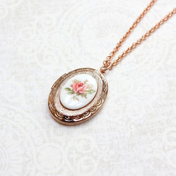 Rose Gold Locket Necklace Oval Locket Pink Rose Cameo Pendant Photo Locket Secret Hiding Place Bridesmaids Gift Romantic Gift for Mom
