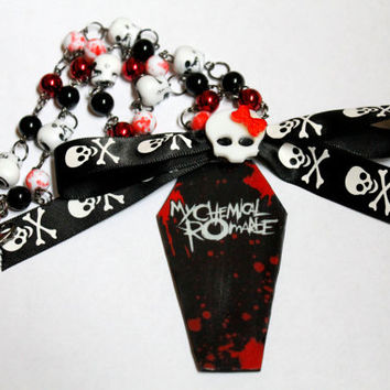 My Chemical Romance Skull and Coffin Beaded Charm Necklace