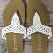 Easy Does It Cream Crochet Thong Sandals