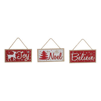 Burlap Hanging Holiday Wall Sign Set - Joy, Noel, Believe 8-in