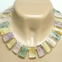 Fluorite Gemstone Statement Necklace Silver Short Pastel Handmade