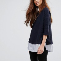 French Connection Hybrid Shirt Knit Sweater at asos.com
