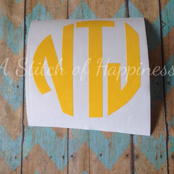 Circle Monogram Car Decal - Monogram Car Decal - Custom Vinyl Decal - Block Monogram - Personalized Car Sticker