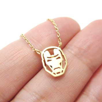 Marvel Iron Man Mask Shaped Pendant Necklace in Gold | Super Hero Jewelry
