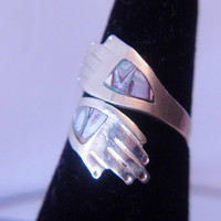 Vintage Hands Wrap Ring Inlay Stone Hand Jewelry Unisex Unique Fashion Accessories