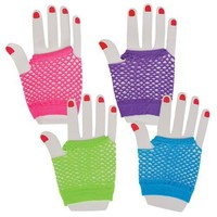 Neon Fishnet Fingerless Wrist Glove Party Accessory