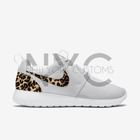 Cheetah Print Nike Roshe Run Triple White Custom