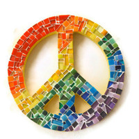 Rainbow Mosaic Peace Sign