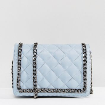 ASOS Leather Diamond Quilt Cross Body Bag With Chunky Chain Handle at asos.com