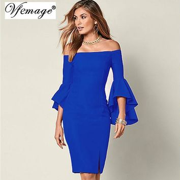 Vfemage Women Elegant Flare Trumpet Sleeve Sexy Off Shoulder Front Slit Sheath Fashion Slim Casual Party Club Bodycon Dress 6440