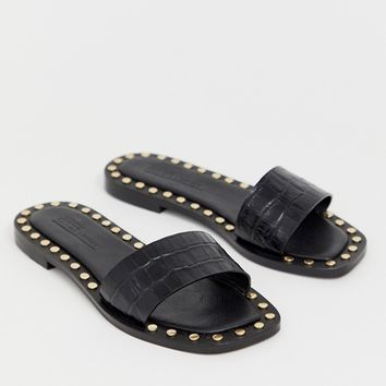 476b61d30b7 ASOS DESIGN Foxhill premium studded flat leather sandals at asos