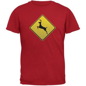 DCCKJY1 Deer Crossing Sign Red Adult T-Shirt