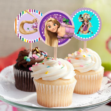"Tangled - Rapunzel - Download 2.25"" Cupcake Toppers, Printable Birthday Party Gift Tags, Toppers, Boy Girl Stickers, Gift Tags"