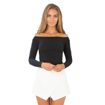 Knit Slim T-Shirt Off Shoulder Slash Neck long sleeve for women