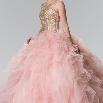 Pink quinceanera dress with gold embroidered  #gl2208