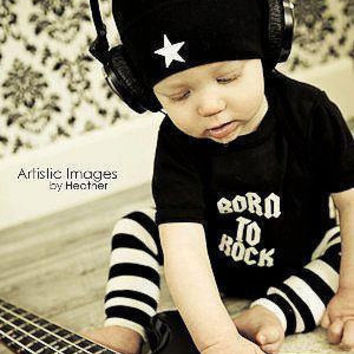 Punk Rock Baby Boy Rockstar Kit black romper one by lowleepop