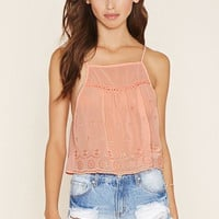 Embroidered Semi-Sheer Cami