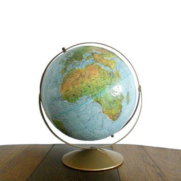 Vintage World Globe 1970s Replogle Land and Sea Series 12 Inch Diameter Raised Relief Blue with Double Axis