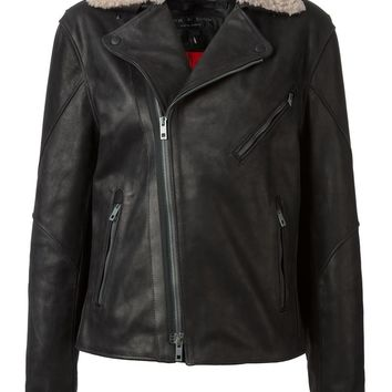 Rag & Bone fur collar biker jacket