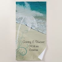 Tropical Beach Wedding Beach Towel