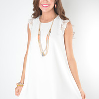 White Shift Dress with Lace Cap Sleeves