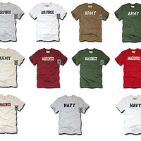 Tee Shirts-Military Clothing-Felt Letter Army, Navy, Air Force, Marines T Shirts